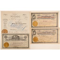 Four Famous Goldfield Mining Stock Certificates  (102545)