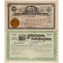 Goldfield Combination Fraction Mining Co. Stocks signed by AD Meyers  (102546)
