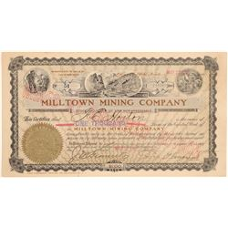 Milltown Mining Co. Stock to Horton & Signed by Wingfield  (102547)