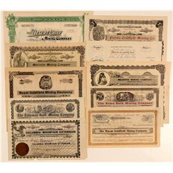 Ten Different Goldfield, Nevada Mining Stock Certificates  (102519)