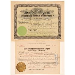 Two Goldfield Stock Selling Co. Stock Certificates  (102539)