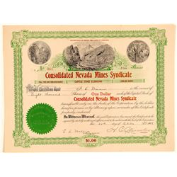 Cons. Nevada Mines Syndicate Stock Signed by Co-Discoverer of Goldfield  (102521)