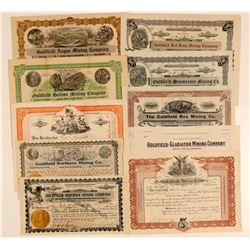 Ten Different Goldfield, Nevada Mining Stock Certificates  (102518)