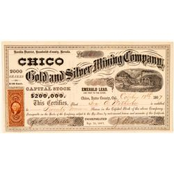 Chico Gold & Silver Mining Co. Stock Certificate Signed by California Pioneer John Bidwell   (100738