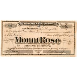 Mount Rose Mining Company Stock Certificate  (91868)