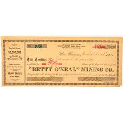 Betty O'Neal Mining Co. Stock Certificate  (100921)