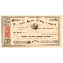 California Silver Mining Company Stock Certificate  (91836)