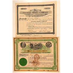 Two Lee, Nevada Mining Stock Certificates  (101632)