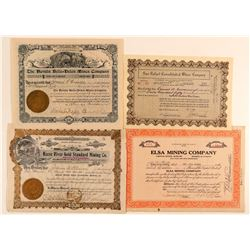 Four Rare Nye County Mining Stock Certificates  (101637)