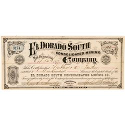 El Dorado South Cons. Mining Co. Stock Certificate (GT Brown Lith.)  (100961)