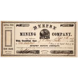 Murphy Mining Co. Stock Certificate Signed by Infamous Stage Operator  (91839)