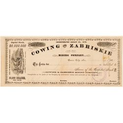 Cowing & Zabriskie Mining Company Stock Certificate  (91869)