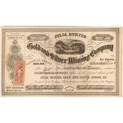 Julia Hunter Gold and Silver Mining Company Stock  (91938)