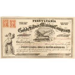 Pensylvania [sic] Gold & Silver Mining Company Stock  (91932)