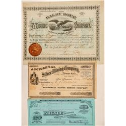 Three Different Treasure Hill Mining Stock Certificates  (100930)