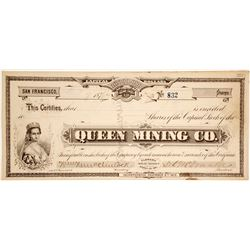 Queen Mining Co. Stock Certificate (G.T. Brown Lithograph)  (28636)
