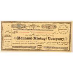 Monona Mining Company Stock Certificate  (91542)