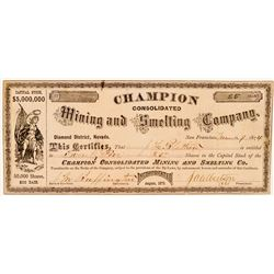 Champion Consolidated Mining & Smelting Co. Stock Certificate  (91856)