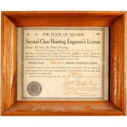 Framed Nevada Hoisting License  (80856)