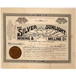 Silver Sunlight Mining & Milling Company Stock  (90539)