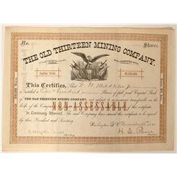 The Old Thirteen Mining Company Stock  (90544)