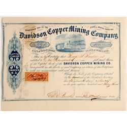 Davidson Copper Mining Company, City of Baltimore, State of Maryland Stock  (81903)