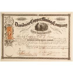 Davidson Copper Mining Company, City of Baltimore, State of Maryland Stock  (81902)