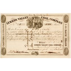 1833 Version of Lykens Valley Coal Company Stock:  Very old and NUMBER 1  (81678)