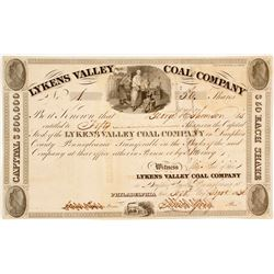 1836 Version of Lykens Valley Coal Company Stock:  Very old and NUMBER 1  (81676)
