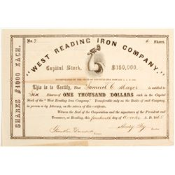West Reading Iron Company Stock: Early Number 7  (81933)