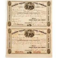 Two Lykens Valley Coal Company Stock - 1837!  (81958)