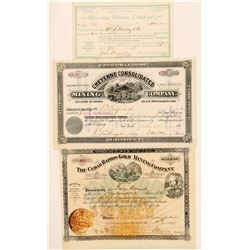 Three Black Hills, South Dakota Mining Stock Certificates  (100767)