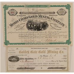 Two Early Black Hills, Dakota Territory Mining Stocks  (100858)