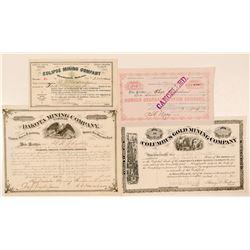 Four Black Hills, Dakota Mining Stock Certificates  (100768)