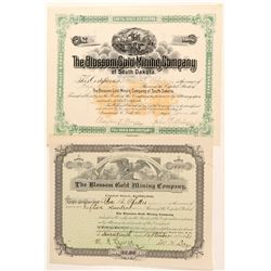 Blossom Gold Mining Co. Stock Certificate Pair  (100785)