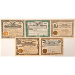 Five Deadwood Area Stock Certificates  (91717)