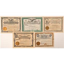 Five Deadwood Area Stock Certificates  (91717)