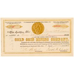 Gold Coin Mining Company Stock Certificate  (100771)