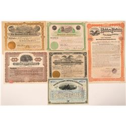 Six Deadwood Area Stock Certificates - including a NUMBER 1  (91718)