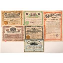 Six Deadwood Area Stock Certificates - including a NUMBER 1  (91718)