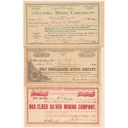 Three Different Deadwood Area Mining Stock Certificates  (100856)