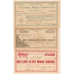 Three Different Deadwood Area Mining Stock Certificates  (100856)