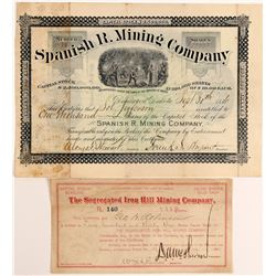 Two Different Deadwood Mining Stocks Certificates  (100781)
