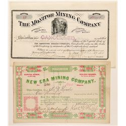Two Different Deadwood, Dakota Territory Mining Stock Certificates  (100776)
