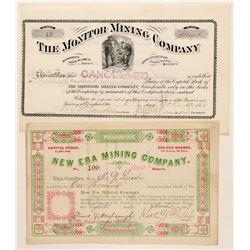 Two Different Deadwood, Dakota Territory Mining Stock Certificates  (100776)