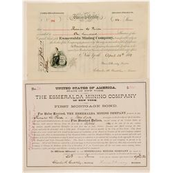 Esmeralda Mining Company Stock Certificate & Bond  (100769)