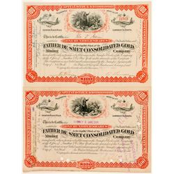 Father De Smet Cons. Gold Mining Co. Stock Certificate Pair incl Haggin Signature  (100770)
