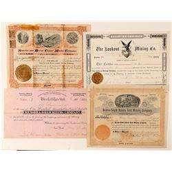 Four Different Black Hills, Dakota Mining Stock Certificates  (100784)