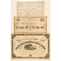 Three Different Black Hills, Dakota Mining Stock Certificates  (100772)