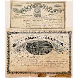 Two Different Black Hills, Dakota Territory Mining Stock Certificates  (100778)